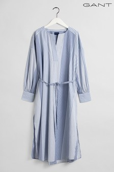 GANT Blue Mix Stripe Kaftan Shirt Dress