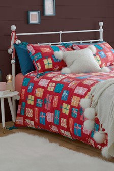 100% Brushed Cotton Christmas Presents Duvet Cover and Pillowcase Set