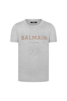 Balmain Boys Grey Cotton T-Shirt