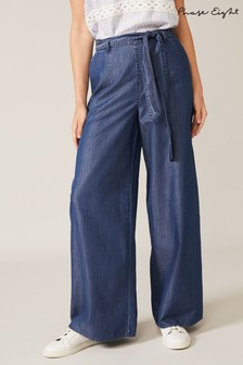 Phase Eight Blue Jane Chambray Wide Leg Trousers