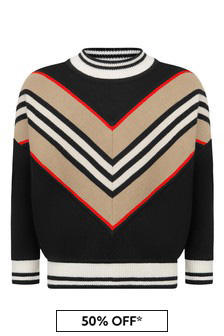 Boys Black Icon Stripe Wool Jumper