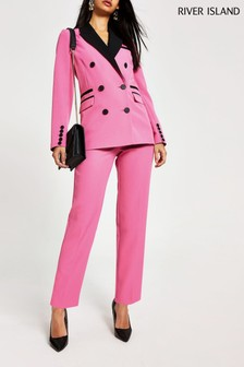 River Island Pink Bowie Blocked Trousers