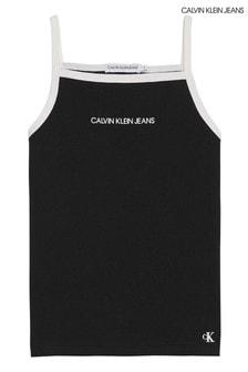 Calvin Klein Black Rib Strappy Tank Top