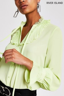 River Island Lime Long Sleeve Funda Blouse