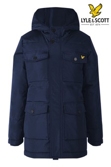 Lyle & Scott Blue Heavyweight Longline Padded Jacket