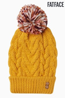 FatFace Yellow Knitted Pom Beanie Hat
