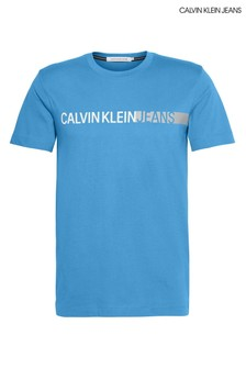 Calvin Klein Jeans Blue Stripe Institutional Logo T-Shirt