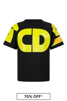 Kids Black Cotton Logo T-Shirt