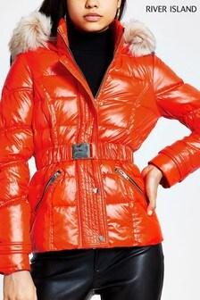 River Island Bright Orange Anoushka Belted Fitted Padded Jacket