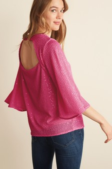 Sequin Angel Sleeve Top