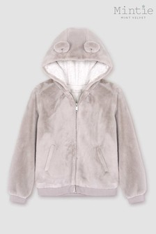 Mintie by Mint Velvet Grey Bear Ears Zip Hoody