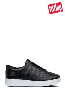 FitFlop™ Black Rally Croc Print Sneakers