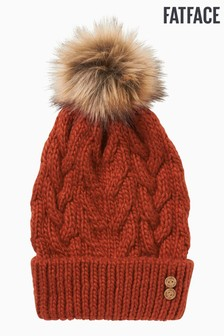 FatFace Orange Knitted Pom Beanie