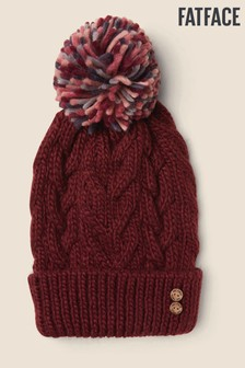 FatFace Purple Knitted Pom Beanie Hat
