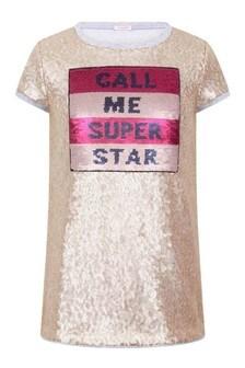 Girls Gold Sequin & Tulle Dress