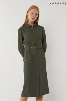 Warehouse Green Utility Twill Midi Shirt Dress