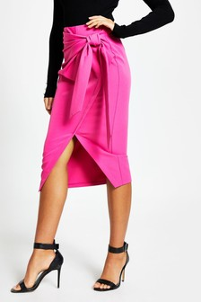 River Island Pink Bright Self Wrap Midi Tie Skirt