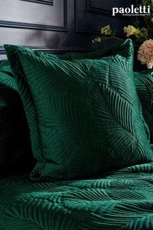 Riva Paoletti Green Palmeria Quilted Cushion