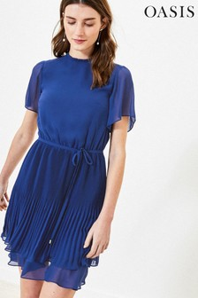 Oasis Blue Pleated Skater Dress