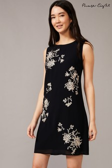 Phase Eight Navy Hina Embroidered Dress