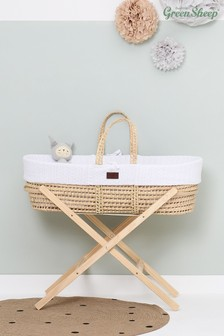 The Little Green Sheep Knitted Moses Basket White