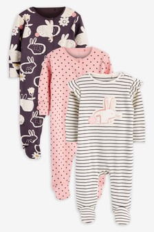 3 Pack Bunny Sleepsuits (0mths-2yrs)
