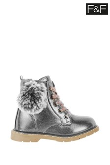 F&F Grey Pom Lace-Up Metallic Boots
