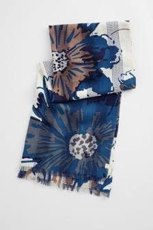 Seasalt Blue Brush Work Scarf