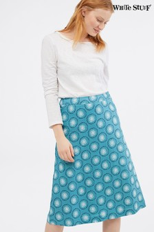 White Stuff Blue Here Comes The Sun Linen Skirt