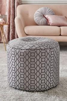 Silver Woven Geo Fabric Pouffe
