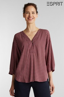 Esprit Red 3/4 Sleeved Woven With Print Blouse
