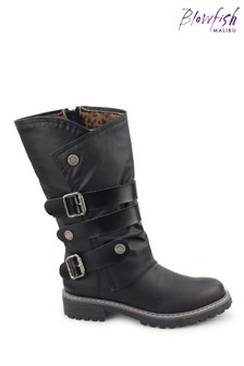 Blowfish Black Raexy Vegan Tall Boots With Strap Detailing