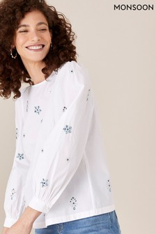 Monsoon Nylah Gem Blouse In Pure Cotton