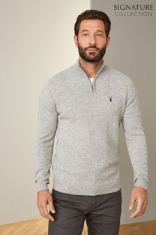 Signature Lambswool Zip Neck Jumper
