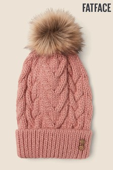 FatFace Pink Knitted Pom Beanie Hat