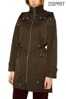 Esprit Green Hooded Parka With Drawcord