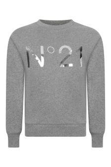 N°21 Girls Grey Cotton Logo Print Sweatshirt