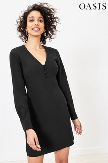 Oasis Black Button Shift Dress