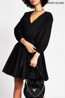 River Island Black Full Skirt Mini Dress