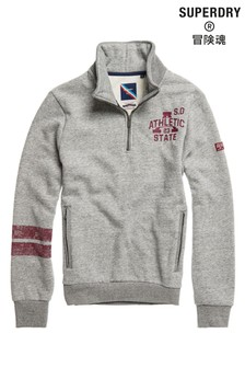 Superdry Grey Track & Field Half Zip Top