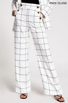 River Island Cream Check Button Detail Wide Leg Trousers