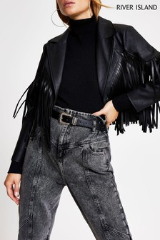River Island Black Fringed Crop Western Blazer
