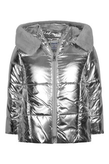 Girls Metallic Silver Padded Coat