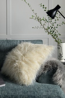 White Mongolian Faux Fur Cushion