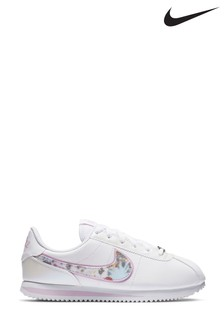 Nike White/Pink Cortez Youth Trainers