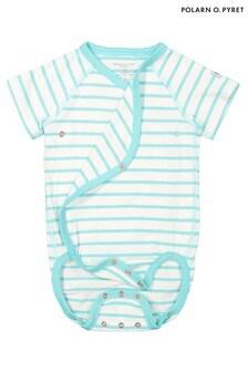 Polarn O. Pyret Blue GOTS Organic Striped Wrap Bodysuit