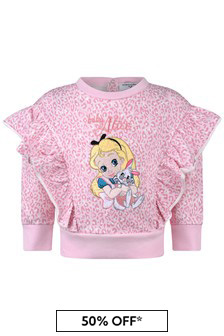 Monnalisa Baby Girls Pink Alice Leopard Print Cotton Sweater