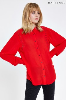 Harpenne Red Stud Detail Long Sleeve Shirt