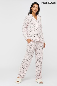 Monsoon Pink Lilianna Jersey Animal Spot Pyjama Set