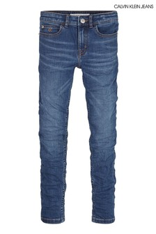 Calvin Klein Blue Super Skinny Fit Pass Blue Jeans